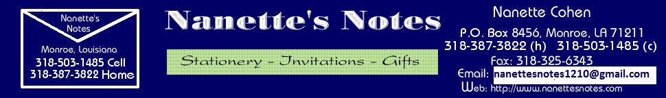 Nanettes Notes Monroe Louisiana consultant for lovely personalized invitations, stationery and gifts